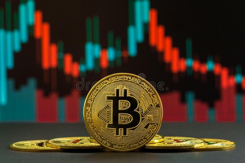 绿色和红色蜡烛和下降趋势显示的Bitcoin cryptocurrency上升 BTC硬币在贸易的图表前面的 免版税库存照片