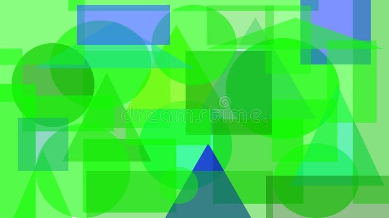 绿色和蓝色形状数字抽象设计  皇族释放例证