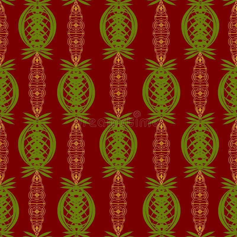 绿色和金子颜色的抽象装饰品在一种深红颜色的 皇族释放例证