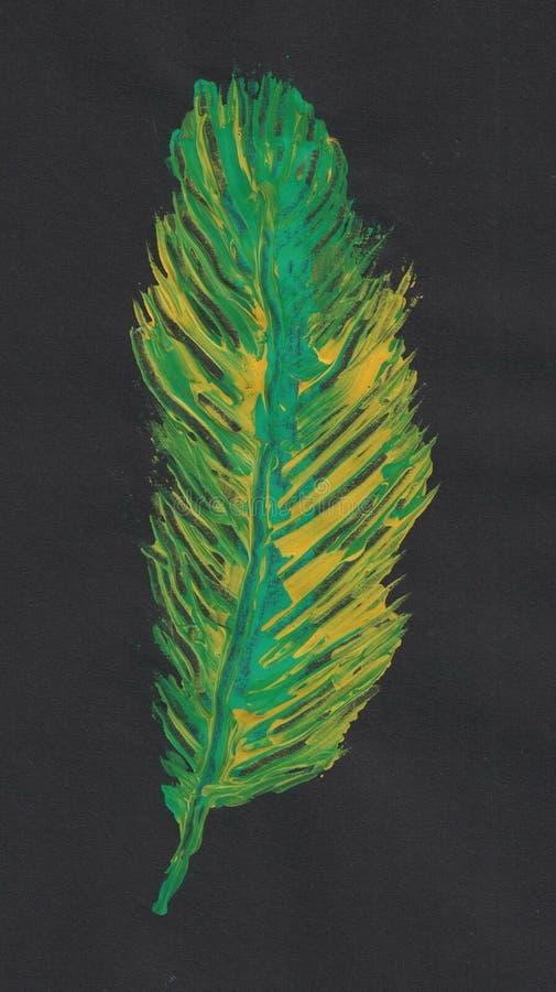 绿色和黄色羽毛绘与丙烯酸酯 向量例证