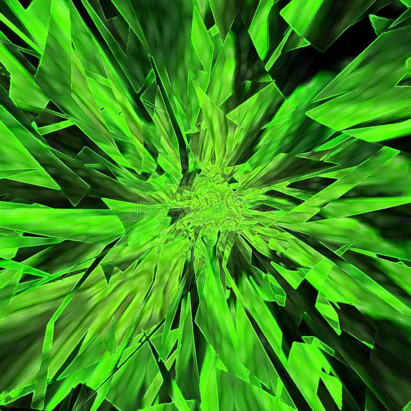 绿色和黑光束背景 镶边抽象墙纸 幻想与被弄脏的爆炸的水彩横幅在绿色瓦片或 库存例证
