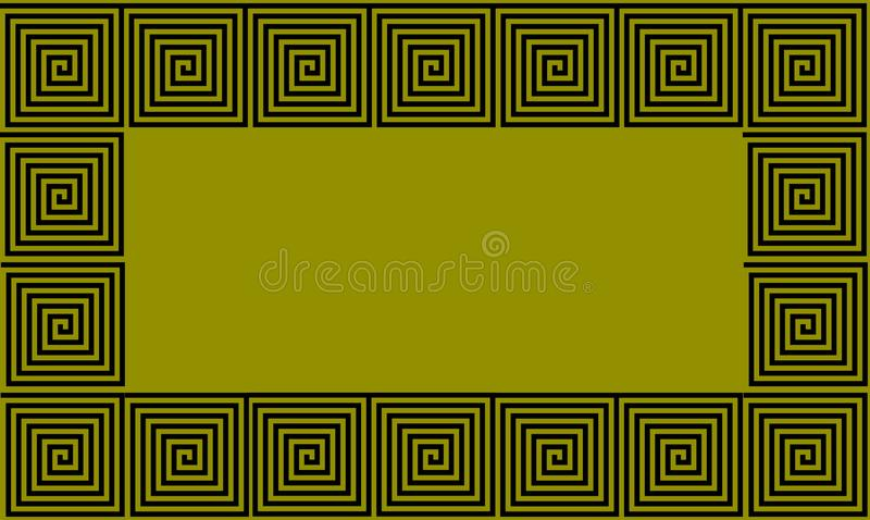 绿色和黑框架古希腊河曲无缝的样式,单纯化的黑历史背景 几何错觉 库存例证
