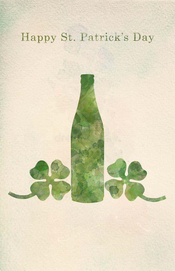 绿色啤酒瓶和四叶三叶草在水彩绘画 库存例证