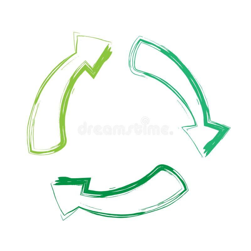 绿色回收箭头标志,在白色背景隔绝的平的传染媒介象 库存例证