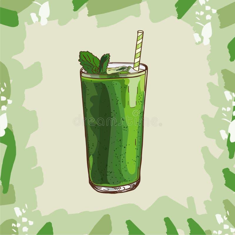 绿色圆滑的人食谱 咖啡馆的菜单有精力充沛的新饮料的元素或餐馆 新鲜的汁液为健康生活 库存例证