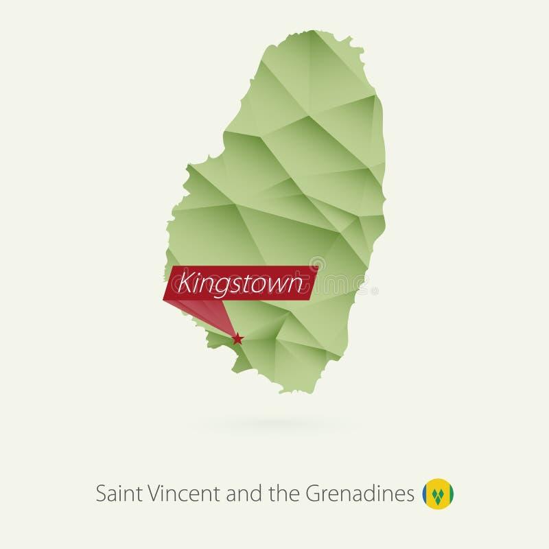 绿色圣文森特和格林纳丁斯梯度低多地图有首都的金斯敦 皇族释放例证