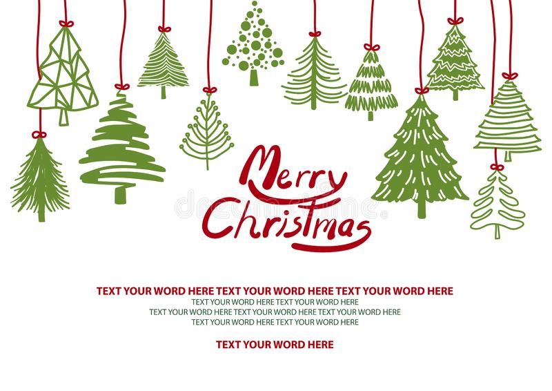 绿色圣诞树从在白色背景的上面垂悬 库存例证
