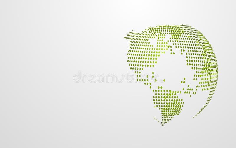 绿色在白色灰色背景的Eco地球抽象全球性小点地图 现代设计墙纸介绍模板 ?? 库存例证