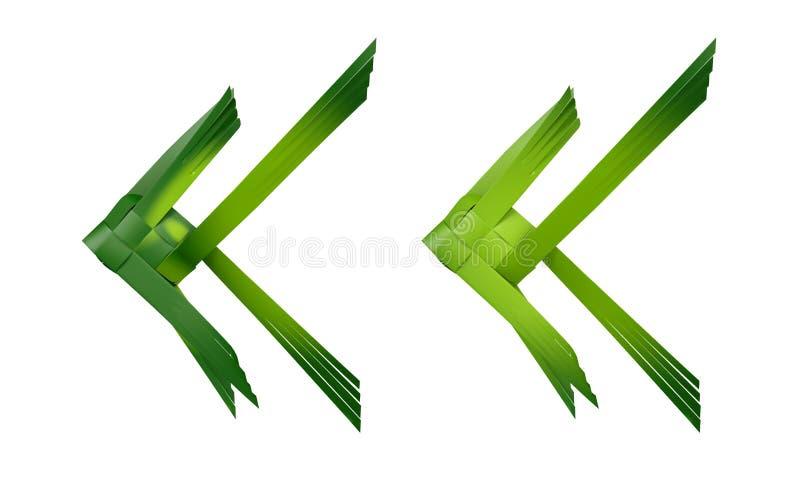 绿色在白色背景的椰子叶子被编织的鱼 皇族释放例证
