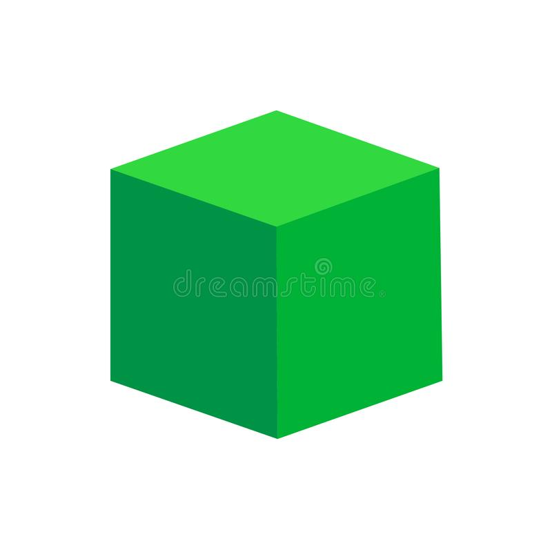 绿色在白色背景隔绝的立方体基本的简单的3d形状,几何立方体箱子象,3d形状标志立方体,几何的剪贴美术 库存例证