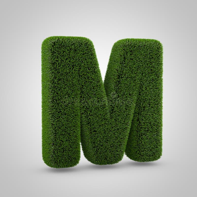 绿色在白色背景M隔绝的青苔大写字目 免版税图库摄影