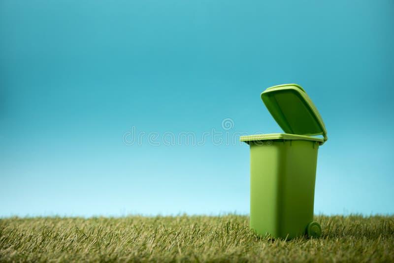 绿色在绿草的回收站 库存照片