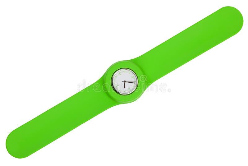 绿色塑料皮带时髦的手表 库存图片