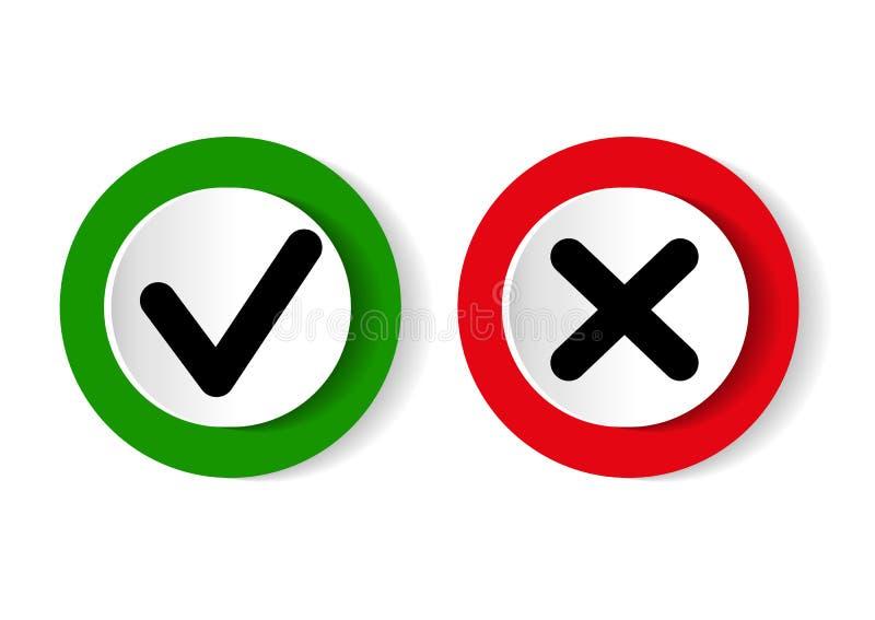 绿色壁虱标志和红十字签到圈子 评估测验的象 也corel凹道例证向量 皇族释放例证