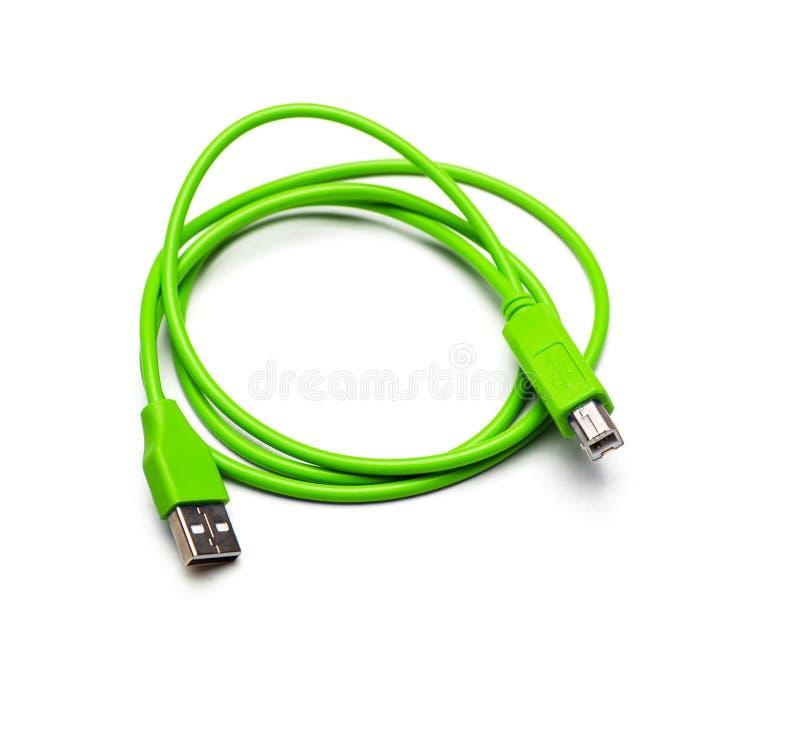 绿色外在光盘usb缆绳绳子 背景查出的白色 库存照片