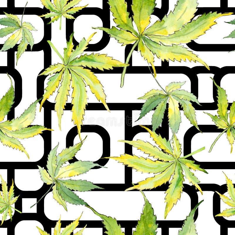 绿色大麻叶子 叶子植物植物园花卉叶子 无缝的背景模式 皇族释放例证