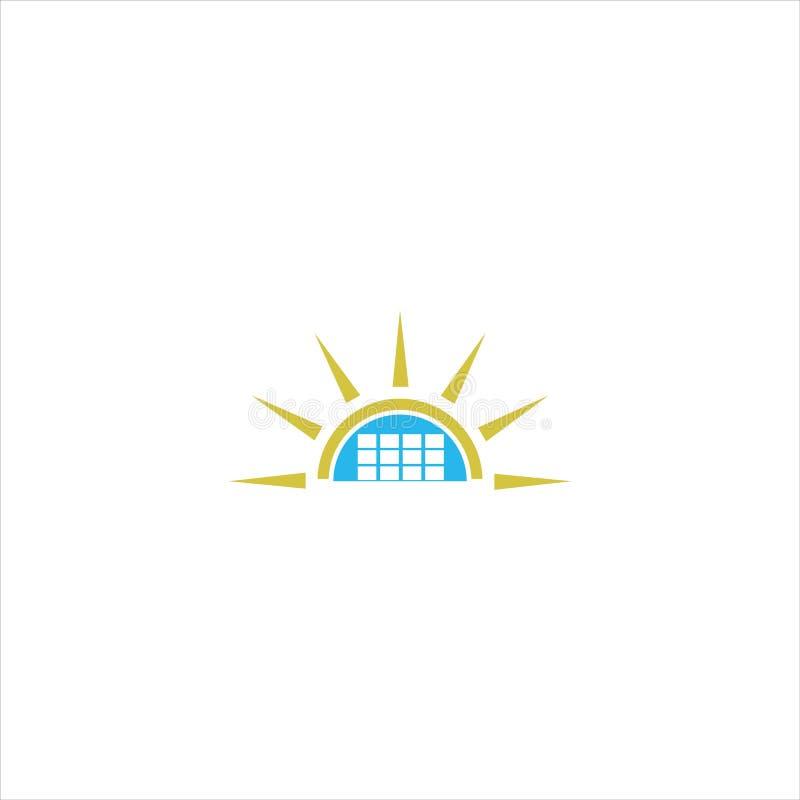 绿色太阳能标志设计模板 皇族释放例证