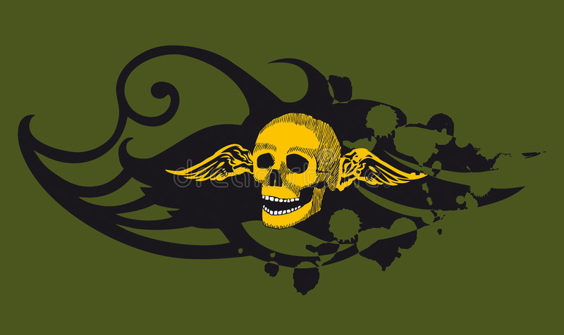 绿色头骨 库存照片