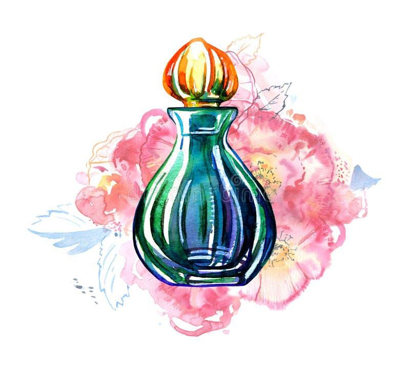 绿色妇女有玫瑰的香水瓶在背景 手拉的风格化水彩例证 皇族释放例证