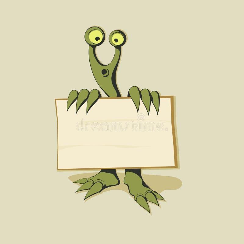 绿色妖怪横幅 库存例证