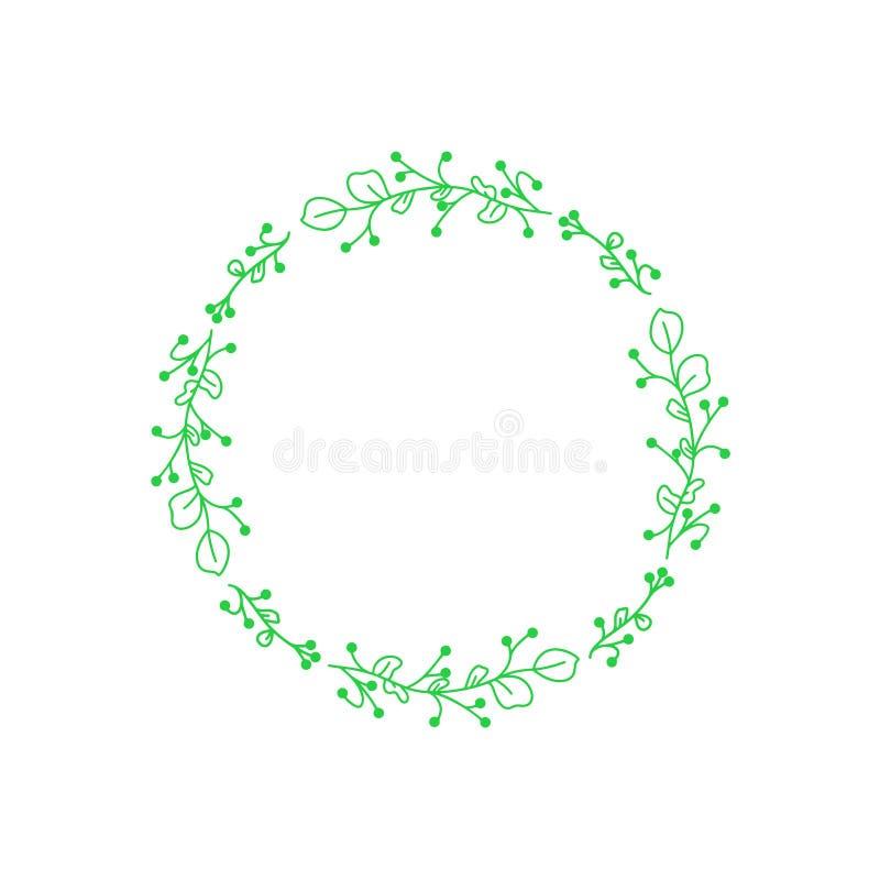 绿色婚姻的花传染媒介 花卉框架请帖 花装饰元素 现代样式 在白色背景的传染媒介框架 皇族释放例证
