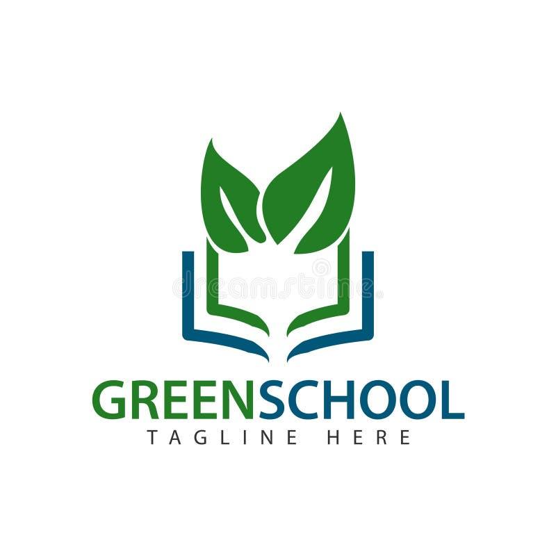 绿色学校商标传染媒介模板设计例证 向量例证