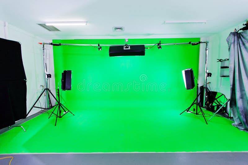绿色屏幕工作室 免版税库存图片