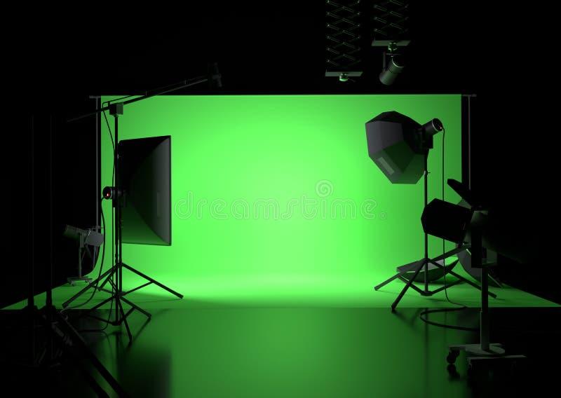 绿色屏幕空的演播室背景 库存照片