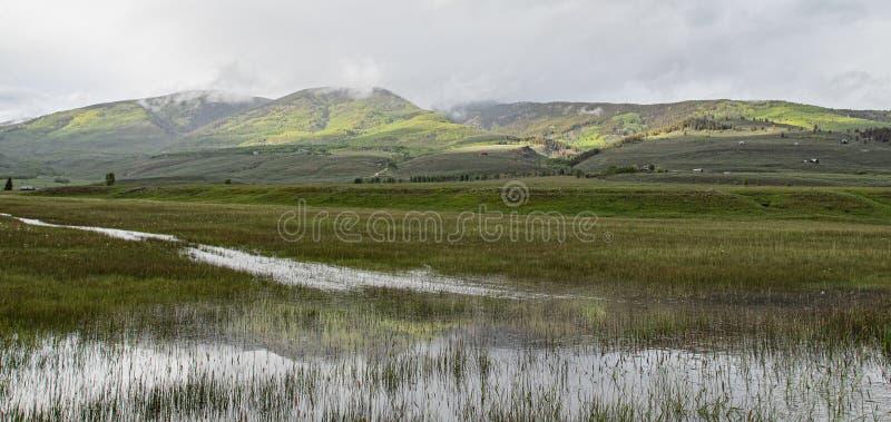 绿色山反射 免版税图库摄影