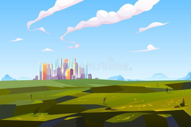 绿色山谷的未来派城市在山中 库存例证
