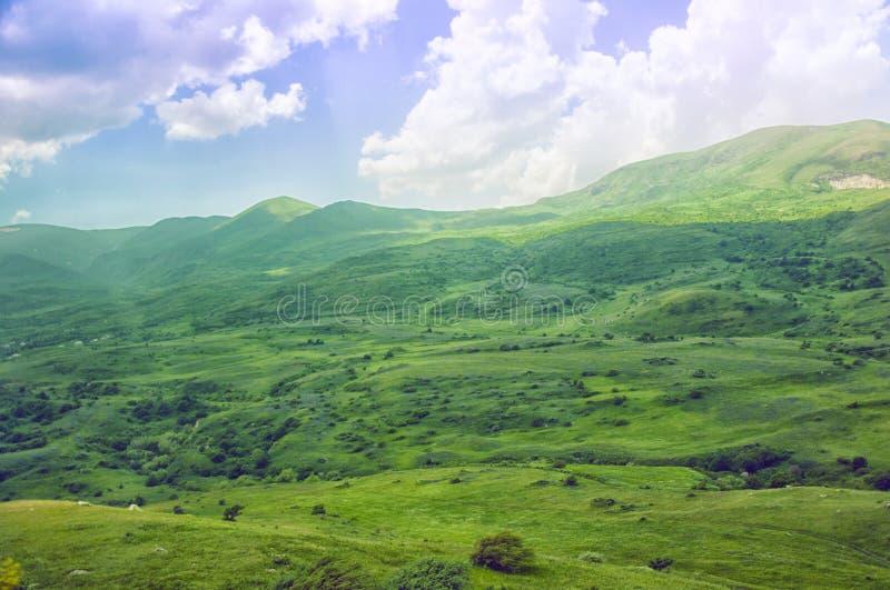 绿色山谷 山岭地区,露天场所风景 的臂章 免版税库存图片
