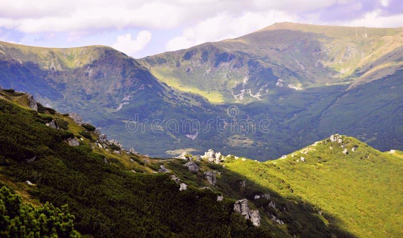 绿色山风景  图库摄影