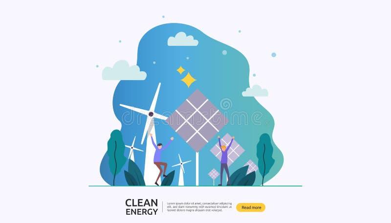 绿色干净的能源 可更新的电太阳太阳电池板和风轮机 与人字符的环境概念 ? 向量例证