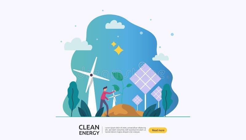 绿色干净的能源 可更新的电太阳太阳电池板和风轮机 与人字符的环境概念 ? 皇族释放例证