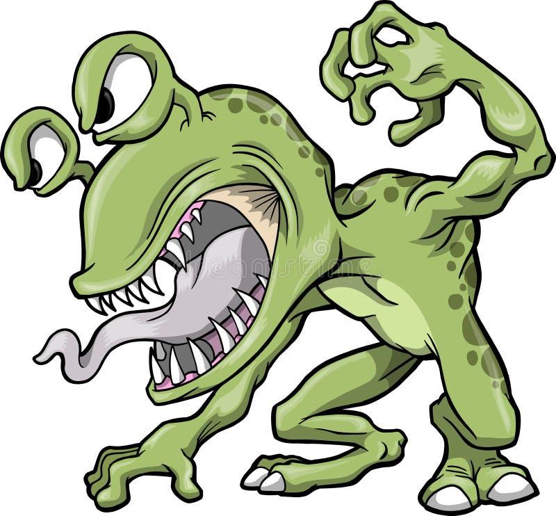 绿色平均妖怪向量 向量例证