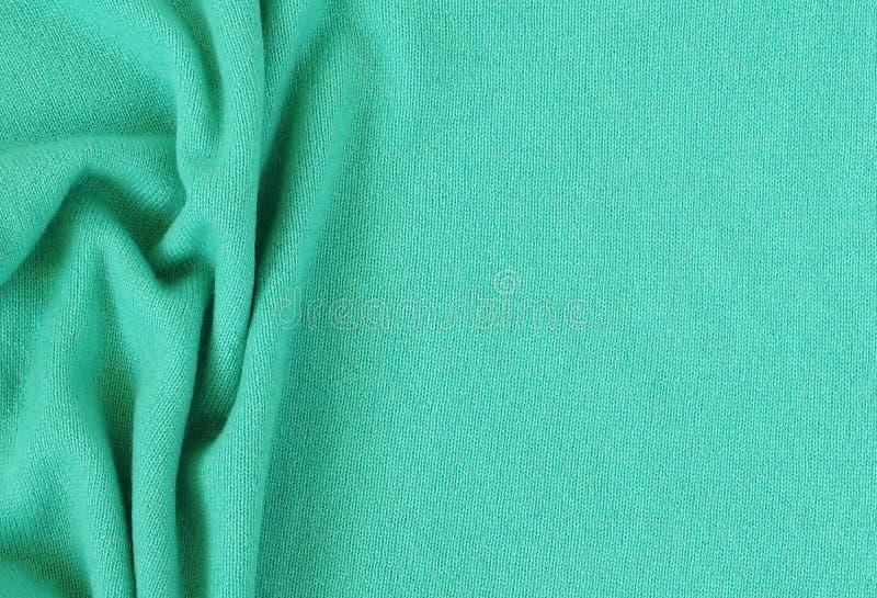 绿色开士米羊毛背景纹理 免版税库存照片