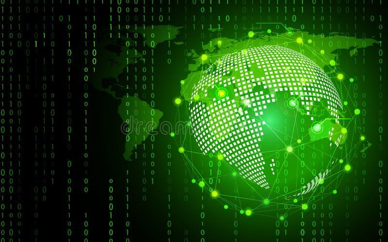 绿色技术圈子和计算机科学抽象背景与二进制编码矩阵 事务和连接 未来派和 向量例证