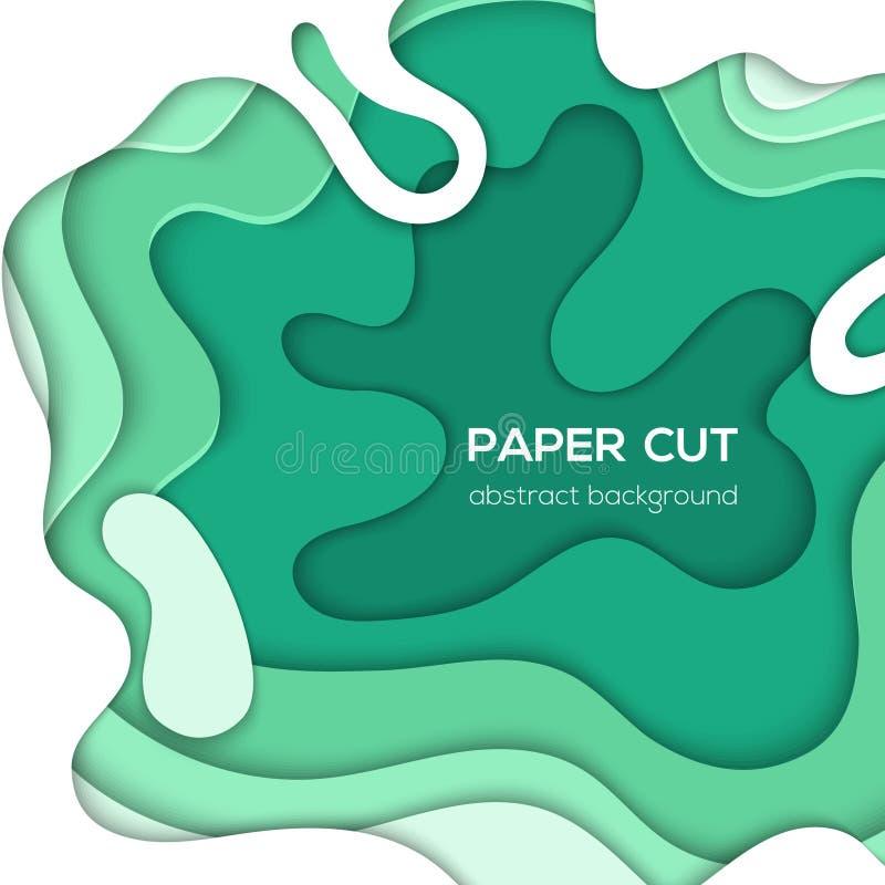绿色抽象布局-传染媒介纸削减了例证 向量例证