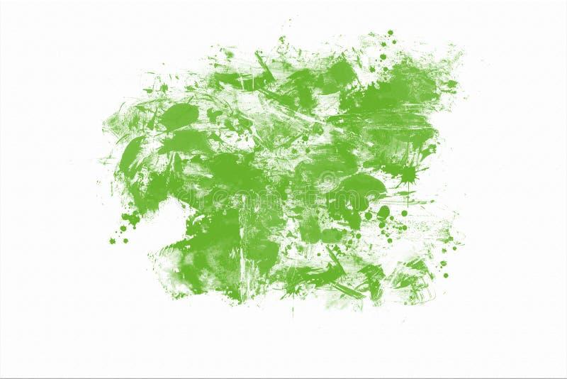 绿色抽象手画水彩涂抹背景 库存例证