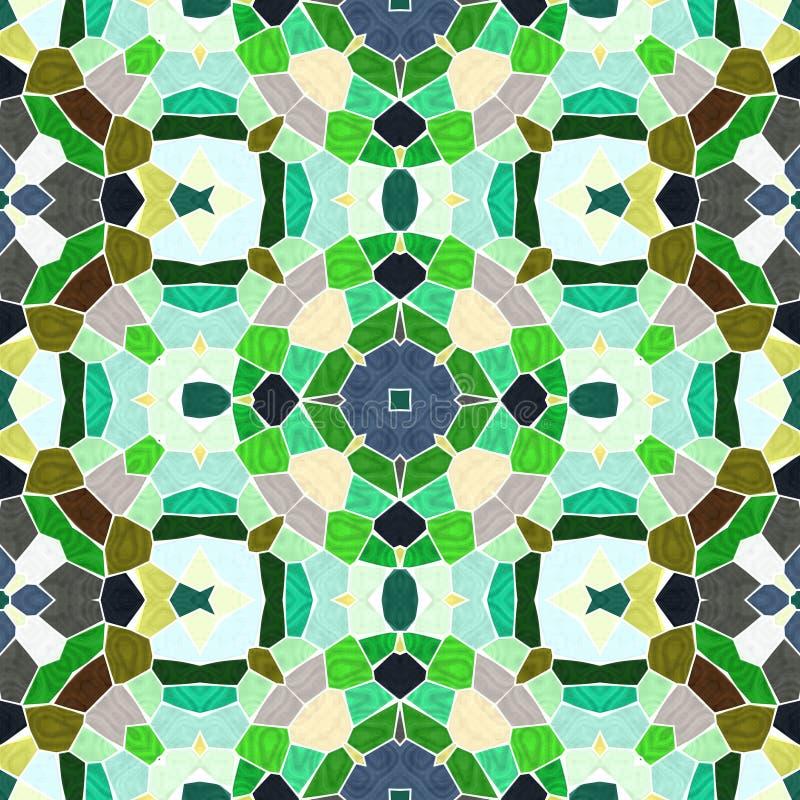 绿色抽象无缝的万花筒样式纹理 向量例证