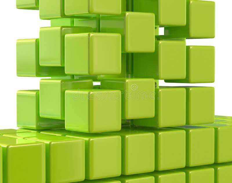 绿色抽象立方体块列阵3d例证 皇族释放例证