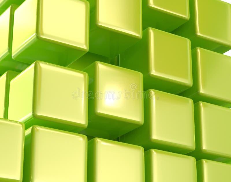 绿色抽象立方体块列阵3d例证 向量例证