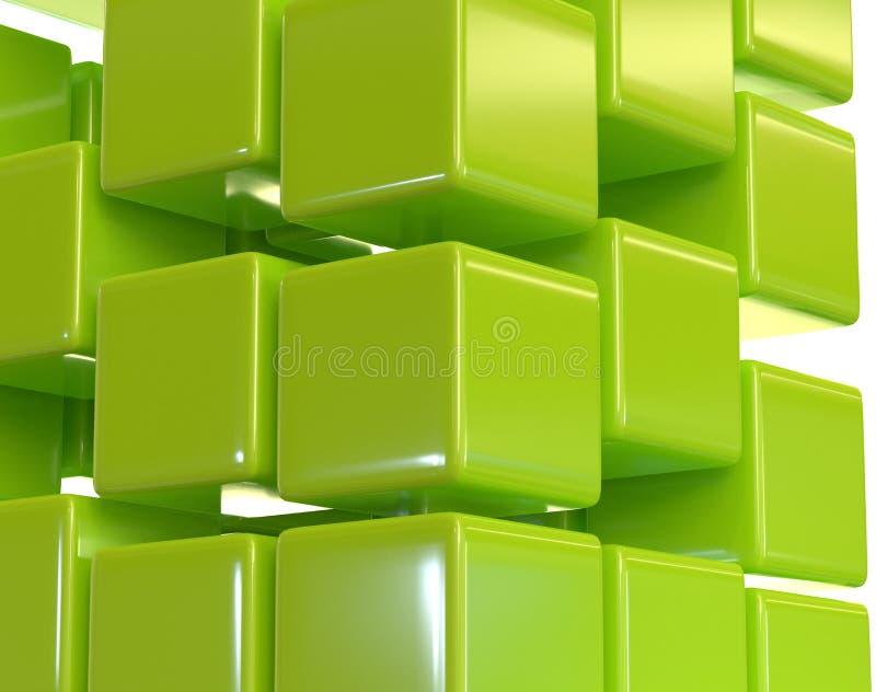绿色抽象立方体块列阵3d例证 库存例证
