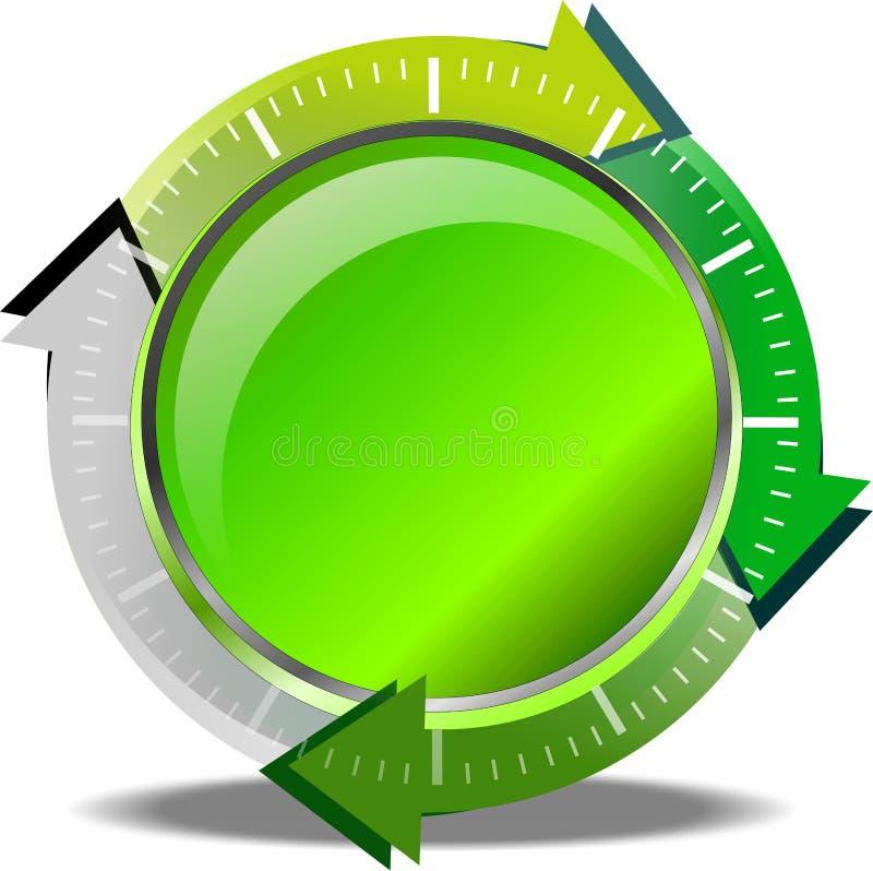 绿色按钮下载 库存例证