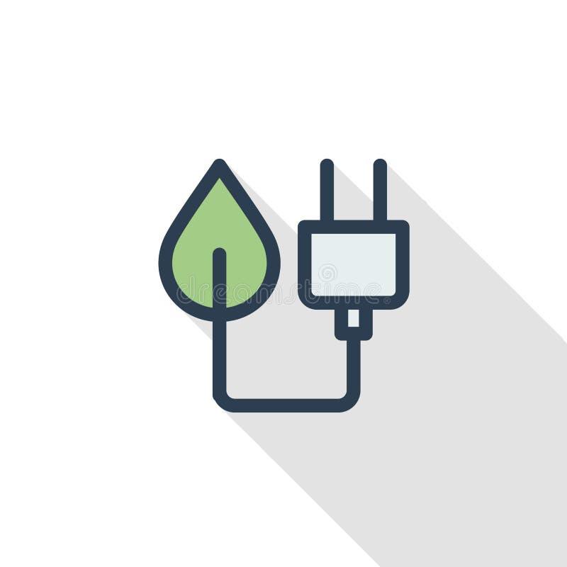 绿色插座, Eco能量电源插座稀薄的线平的颜色象 线性传染媒介标志 五颜六色的长的阴影设计 向量例证