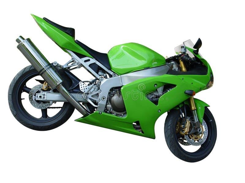 绿色摩托车 免版税库存图片