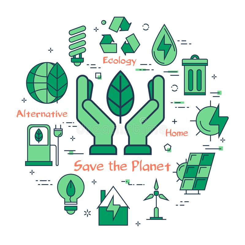 绿色救球行星概念 库存例证
