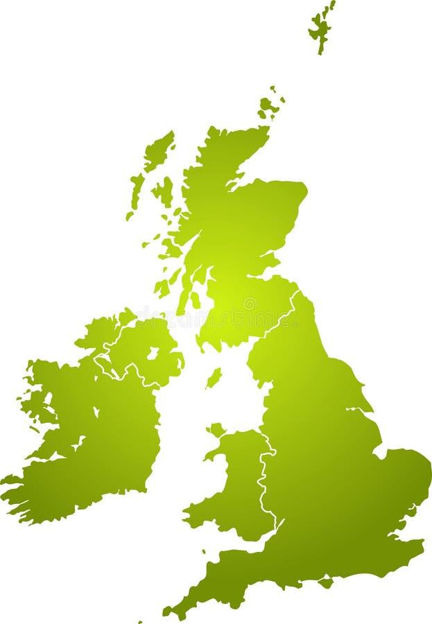 绿色映射英国 向量例证