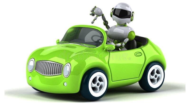绿色机器人- 3D例证 库存例证
