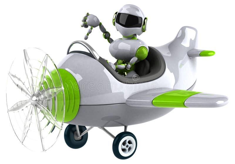 绿色机器人- 3D例证 向量例证